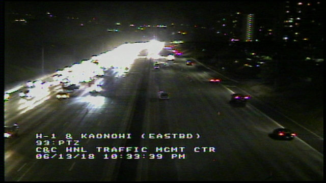 Accident closes multiple lanes on H-1 Freeway in Aiea