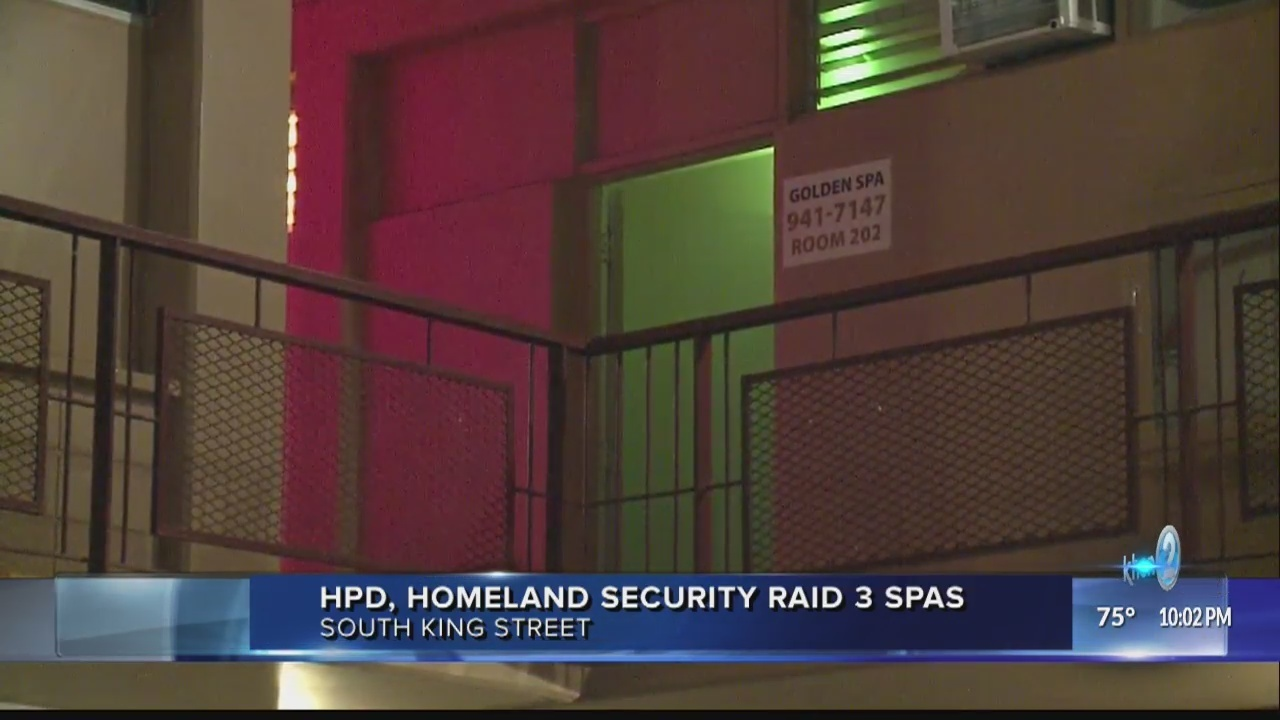 Honolulu Police and Homeland Security agents raid massage parlors