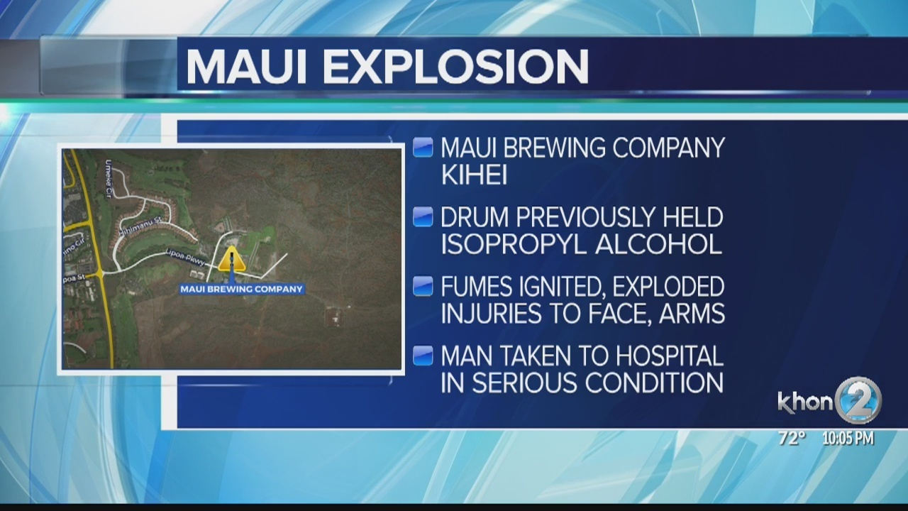 Explosion at a Maui brewery leaves worker in serious condition