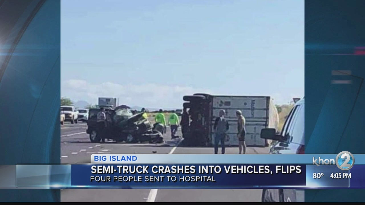 Semi-truck rolls over in collision on Queen Kaahumanu Highway